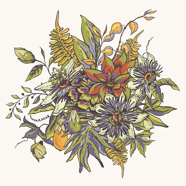 Collection naturelle de fleurs tropicales vintage. carte de voeux passiflora, fleurs, feuilles exotiques