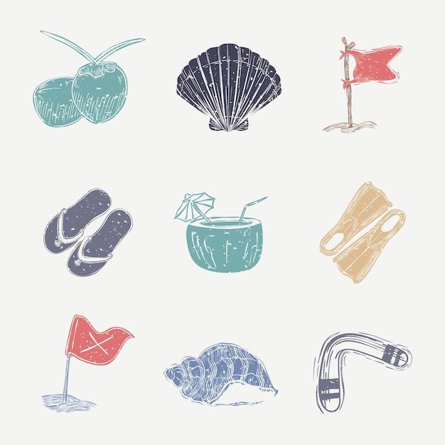 Collection nautique de linogravure colorée
