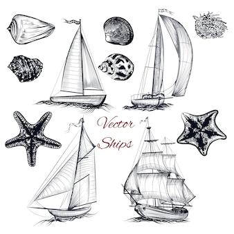 Collection de navires dessinés à la main