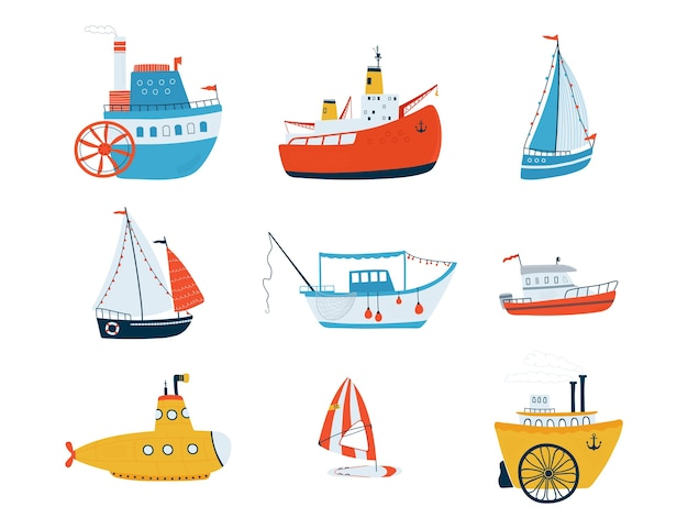 Collection de navires mignons isolés sur fond blanc