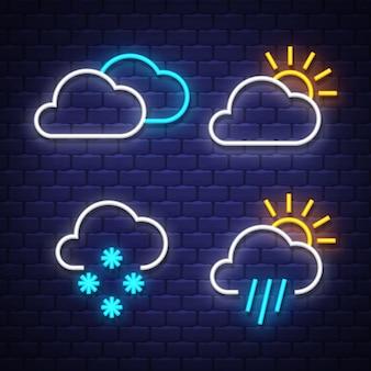 Collection de néons météo. signes météorologiques. enseignes au néon.