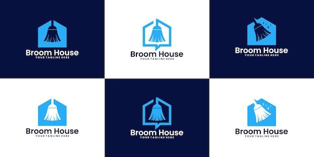 Une collection de nettoyeurs d'inspiration de conception de logo de maison de balai et de maisons propres