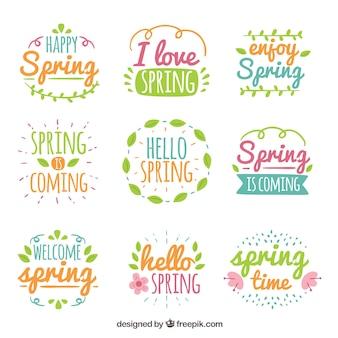 Collection de neuf étiquettes de printemps