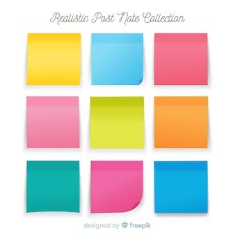 Collection de neuf notes de poste dans un style réaliste