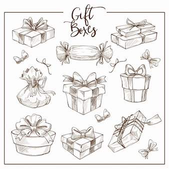 Collection de noël de contour esquisse monochrome de boîtes à cadeaux traditionnels symboliques.