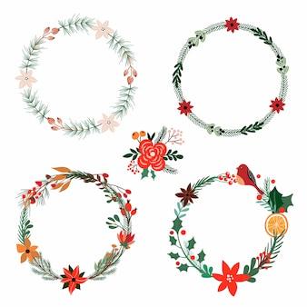 Collection de noël avec des couronnes florales