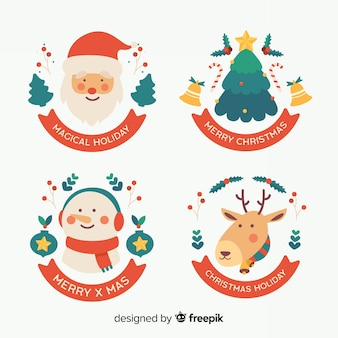 Collection de noël des éléments de badge design