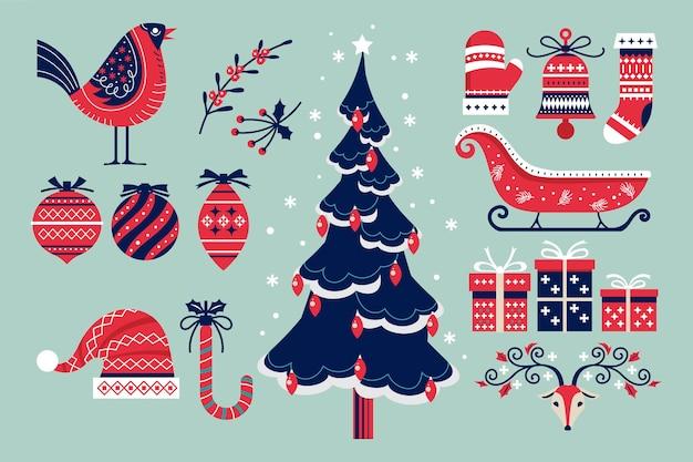 Collection de noël d'éléments décoratifs d'hiver