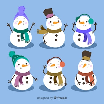 Collection de noël mignon bonhomme de neige au design plat