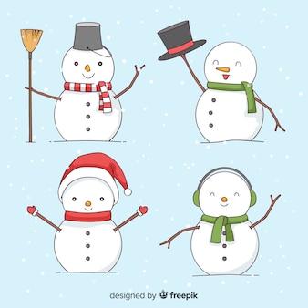 Collection de noël mignon bonhomme de neige dans le style dessiné à la main
