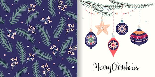 Collection de noël avec motif sans couture et carte de voeux, design d'hiver