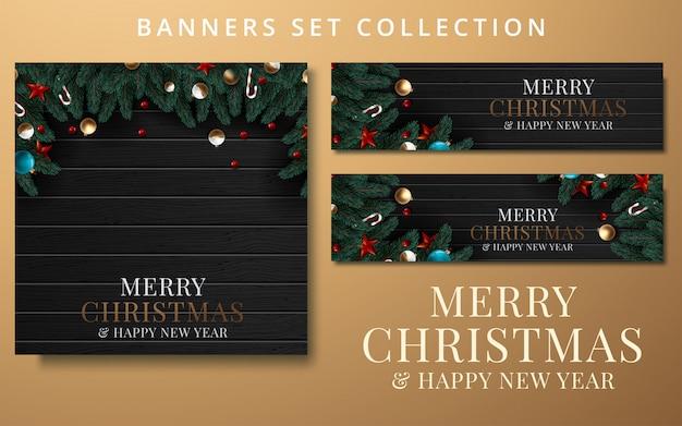Collection noël et nouvel an avec bordure ou guirlande de branches d'arbres de noël