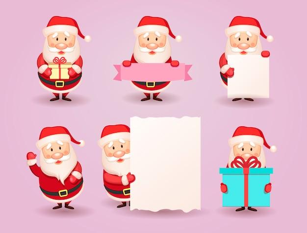Collection de noël santa claus. ensemble de dessin animé santa avec un cadeau, ruban, carte ou bannière en papier dans les mains. collection mignonne de père noël. illustration.