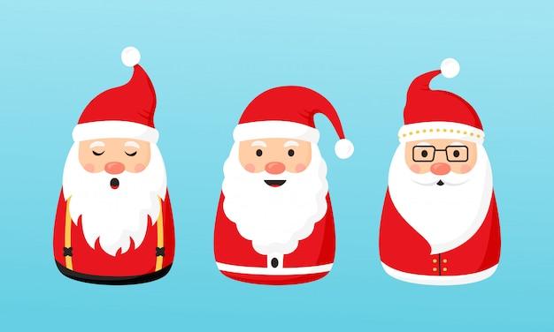 Collection de noël santa claus. personnages de vacances d'hiver. illustration