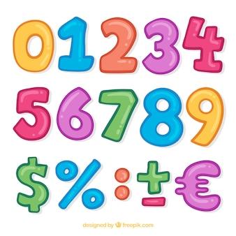 Collection de nombres colorés avec des signes