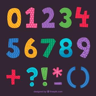 Collection de nombres colorés