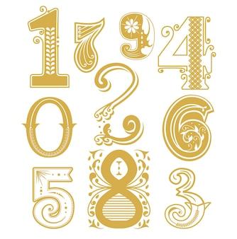 Collection de nombres dessinés à la main en vecteur