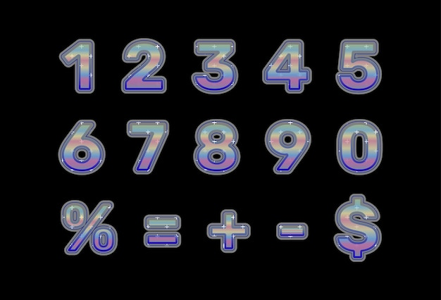 Collection de nombres et de signes mathématiques