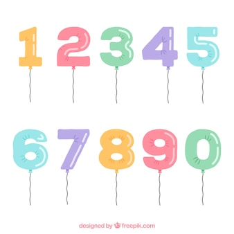 Collection de nombres avec un style de ballon
