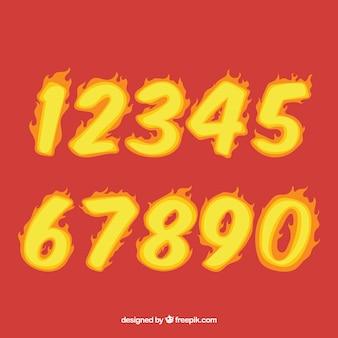 Collection de nombres avec le style de feu