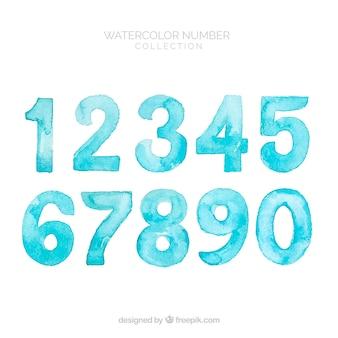 Collection de nombres turquoise
