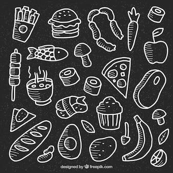Collection de nombreux éléments de nourriture dans le style de tableau