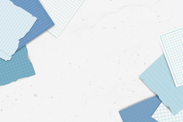 Collection de notes déchirées bleues
