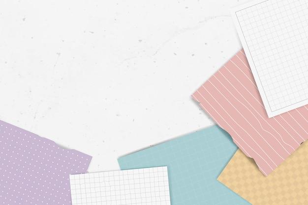 Collection de notes déchirées colorées