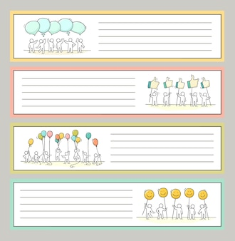 Collection de notes mignonnes pour autocollants, étiquettes. modèle pour cartes de vœux, cahiers, accessoires scolaires. doodle illustration vectorielle dessinée à la main avec des gens de la bande dessinée.
