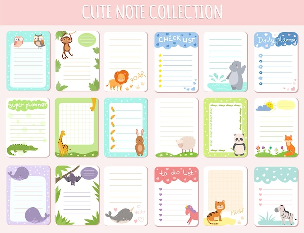Collection de notes mignonnes