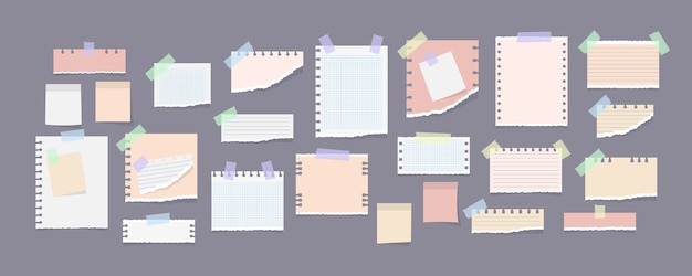 Collection de notes papier sur des autocollants