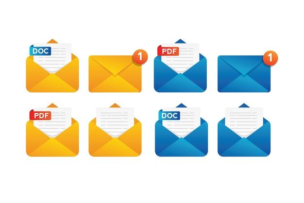 Collection de notification de document de courrier avec enveloppe jaune et bleue