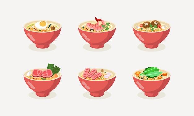 Collection de nouilles de cuisine asiatique avec diverses garnitures