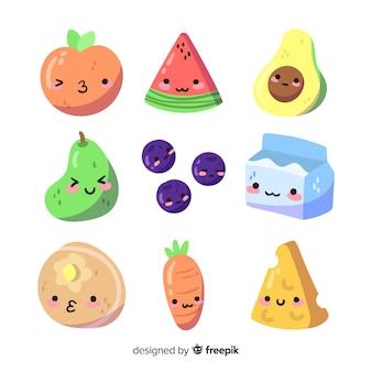 Collection de nourriture adorable dessiné à la main