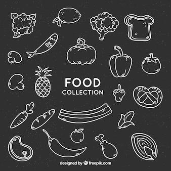 Collection de nourriture dans le style de tableau