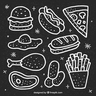 Collection de nourriture dessiné à la main dans le style de tableau