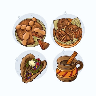 Collection de nourriture dia de muertos dessinée à la main
