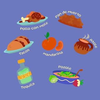 Collection de nourriture dia de muertos plat dessiné à la main