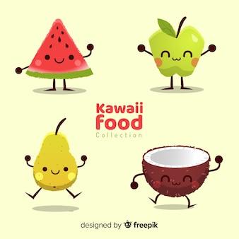 Collection de nourriture drôle dessinée à la main