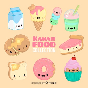 Collection de nourriture kawaii dessinée à la main