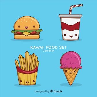 Collection de nourriture kawaii dessinée à la main