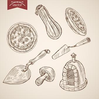 Collection de nourriture de pizzeria italienne dessinée à la main vintage de gravure.