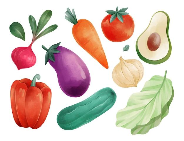 Collection de nourriture végétarienne aquarelle