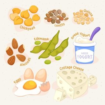 Collection de nourriture végétarienne design plat dessiné à la main