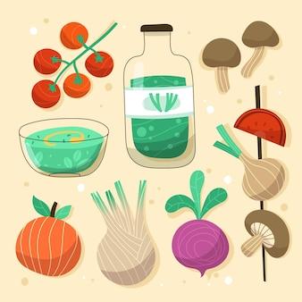 Collection de nourriture végétarienne dessinée à la main
