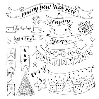 Collection de nouvel an dessinés à la main avec des rubans et des décorations. éléments de vecteur de noël