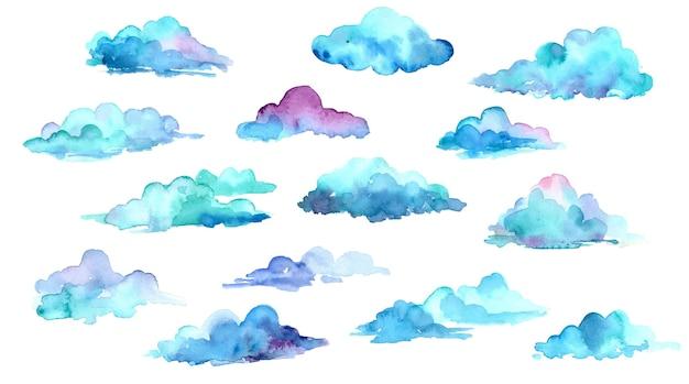 Collection de nuages aquarelle