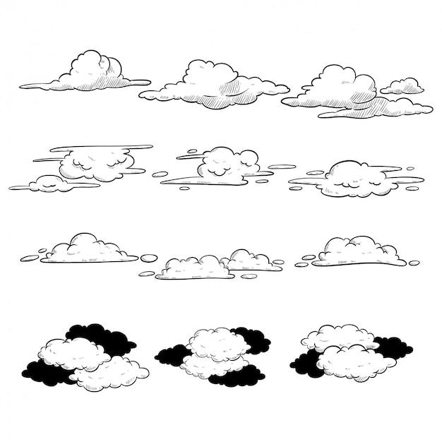 Collection de nuages dans un style dessiné à la main sur fond blanc