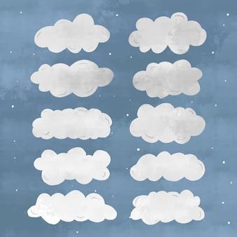 Collection de nuages dessinés à la main