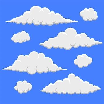 Collection de nuages duveteux dans un style de dessin animé 3d